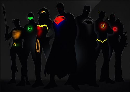JUSTICE LEAGUE AMERICA - BLACKOUT GLOW canvas print - self adhesive poster - photo print